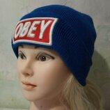 Стильная двойная, трикотажная, брендовая шапочка с подворотом. OBEY
