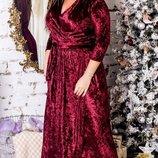Длинное бархатное вечернее платье на запах хл размеры 48-54 скл.1 арт.47574