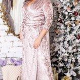 Длинное бархатное вечернее платье на запах хл размеры 48-54 скл.1 арт.47573