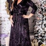 Длинное бархатное вечернее платье на запах хл размеры 48-54 скл.1 арт.47572