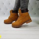 Супер цена 36-41р ботинки тимберленд очень качественные коричневые рыжие женские мужские зимние
