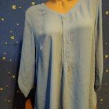 Новая шифоновая блузка рубашка голубого цвета