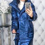 Теплая куртка пуховик пальто плотная глянцевая плащевка на синтепоне скл.1 арт.47540