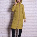 Скидка зимняя длинная куртка 54 56р горчичная