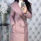 Теплая зимняя куртка пальто пуховик плотная плащевка канада на синтепоне скл.1 арт.47539