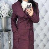 Теплая зимняя куртка пальто пуховик плотная плащевка канада на синтепоне скл.1 арт. 47537