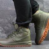 Nike Lunar Force 1 Duckboot кроссовки мужские зимние темно зеленые 6803