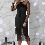 Шикарное Платье Багира Д/р черное платье с бахромой и бархатом скл.2
