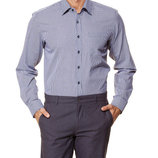 Белая мужская рубашка LC Waikiki / Лс Вайкики в синюю клетку с синими пуговицами