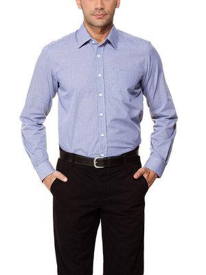 Белая мужская рубашка LC Waikiki / Лс Вайкики в синюю клетку с белыми пуговицами