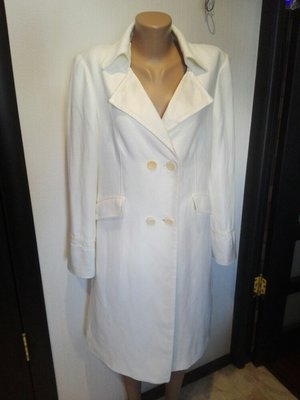 Крутой фирменный белый Плащ-Трэнч пиджак вечерний вариант или свадебный Massimo  dutti 4874310daef