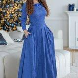 Платье Ткань Жаккард Атлас Потайная Молния Длина Изделия 155,ДЛИНА Рукава 40 См