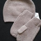 Демисезонный комплект шапочка и рукавички головной убор, мальчик, девочка от m&s 3-6 лет