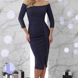 Шикарное вечернее платье Амелия с открытыми плечами ткань креп-дайвинг с люрексом скл.2