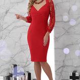 Шикарное вечернее платье креп-дайвинг с кружевом сетка флок Флоренция скл.2