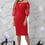 Шикарное вечернее Платье Розана Д/р с открытыми плечами ткань блестящий креп-дайвинг скл.2