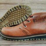 Коричневые кожаные мужские зимние ботинки Clarks. Натуральный мех. Шикарное качество
