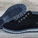 Черные кожаные мужские зимние ботинки Timberland. Натуральный мех. Топ качество Ааа