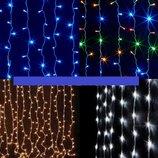 Новогодняя гирлянда штора Водопад 240 LED 2 2 м. белая,синяя,желтая,мульти
