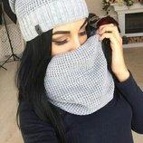 Набор шарф-хомут и шапка Ткань- нитка акрил,внутри шапка на флисе лоб не чесался Машинная вязка