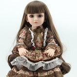 Реалистичная BJD кукла Reborn. Винил. Высота 45 см. Ручной работы. Красивые, густые волосы.