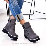 Ботинки на молниях - натуральная замша, кожа Зима и деми Цвет на выбор