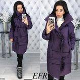 Теплая зимняя куртка пальто пуховик плотная плащевка канада на синтепоне скл.1 арт.47700
