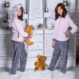 Детский махровый пижамный костюм подросток 163 Горошек Ушки в расцветках.