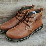 Коричневые кожанные мужские ботинки Clarks