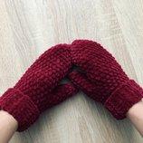 Варежки рукавицы вязаные ручная работа бордовые велюр новые handmade теплые зима