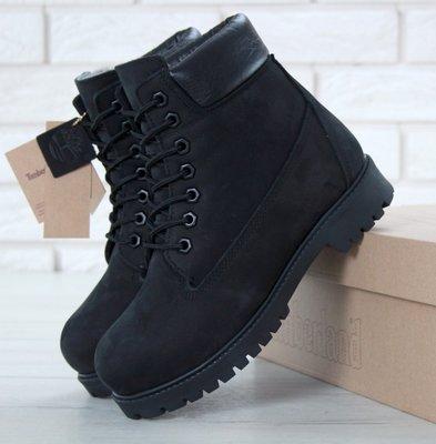 Зимние женские ботинки Black черные с натуральным мехом