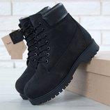 Зимние женские ботинки Timberland Black с натуральным мехом
