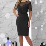 Шикарное вечернее Платье Шерон Б/р с бахромой ткань креп-дайвинг скл.2