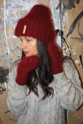 мохер вязаные шапки и варежки теплые стильные красивые пушистые