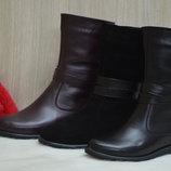 Очень красивые Полусапожки сапоги ботинки женские осенние зимние кожаные замш черные, бордовые