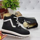 зимние теплые ботинки дутики на шнуровке черные 36-40р