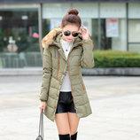 Приталенная куртка с капюшоном хаки