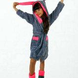 Детский домашний махровый комплект халат сапожки 001 Зайка в расцветках.
