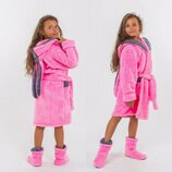 Детский домашний махровый комплект халат сапожки 001 Зайка в расцветках