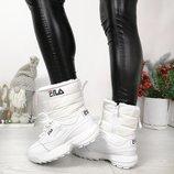 Зимние кроссовки дутики внутри иск.густой мех цвет WHITE, материал иск.кожа верх плащевка , выс