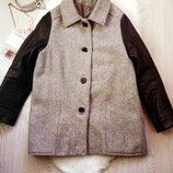 Теплое шерстяное серое пальто на синтепоне с черными кожзам рукавами батал большой