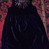 Бархатное черное платье на 4-6лет