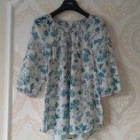 Размер S Обалденная фирменная хлопковая нарядная воздушная блузка