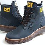 Ботинки мужские зимние кожаные Cat Blue