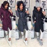 Пальто Ткань плащевка Утеплитель силикон 200 Длина изделия 105 см Цвет чёрный, графит, бордо