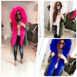 Женская зимняя куртка парка с цветним мехом