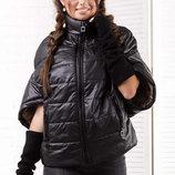 Женская стильная короткая куртка на синтепоне 2060 Кимоно Короткий Рукав в расцветках.