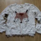 Пушистый свитерок с лисой Zara на 10-12 лет