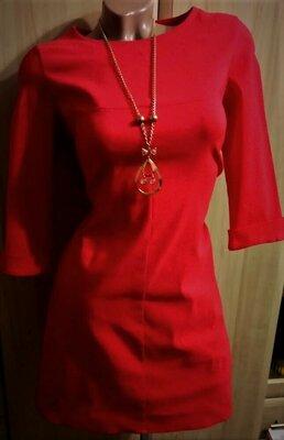 Красное Платье футляр 44р. и 46р. стрейч коттон