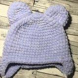Шапка с ушками вязаная ручная работа серо-голубая велюр новая теплая handmade
